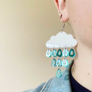 Rain Cloud Earrings Weather Gift